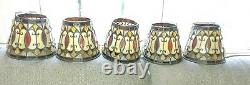 Five Quoizel arts crafts stained glass lamp shades 4 top 5-1/2 tall -6-1/2