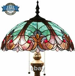 Floor Lamp Light Stained Glass Antique Vintage Living Room Bedroom Tiffany Style