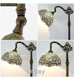 Floor Lamp Standing Light Reading Tiffany Style Stained Glass Crystal Antique