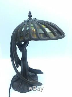 Flying Lady Figural Art Deco Nouveau Woman Tiffany Style Stain Glass Lamp Wings