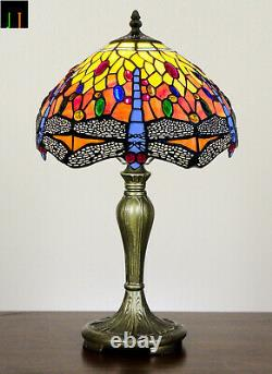Free Postage JT Tiffany Stained Glass Dragonfly Style Table Bedside Lamp