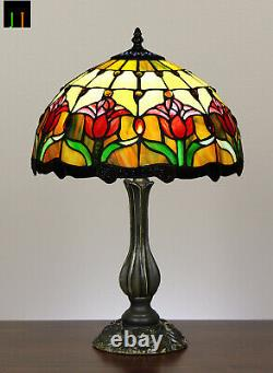 Free Postage JT Tiffany Stained Glass Tulip Style Bedside Table Lamp