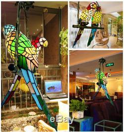 Glass Parrots Porch Pendant Lamp Handcraft Chandelier Bedroom LED Ceiling Light