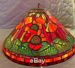 Gorgeous Tiffany-Style Pendant Lamp Leaded Stained Glass Antique