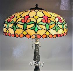 Gorgeous WILKINSON Antique American 25 Leaded Stained Glass Lamp c. 1915
