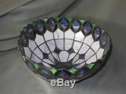Gorgeous intricate Stain Glass Lamp Shade 12 dia. & 7 tall perfect