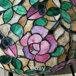 HUGE 28 Chicago Mosaic Floral Leaded Slag Stained Glass Lamp Shade Chandelier