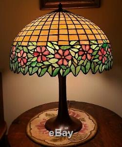HUGE Antique Arts & Crafts Handel / Unique Leaded Slag Stained Glass Table Lamp