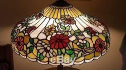 HUGE Antique Chicago Mosaic Leaded Slag Stained Glass Floral Table Lamp