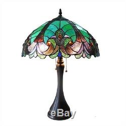 Handcrafted Victorian Design Tiffany Style Stained Glass Table Lamp 16 Shade