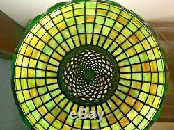 Handel Lamp Base with Stained Glass Shade Green Turtlebacks