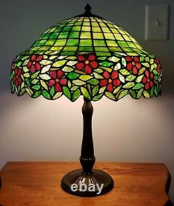 Handel / Unique Arts & Crafts Leaded Slag Stained Glass Table Lamp Tiffany Era