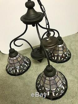 Hanging Tiffany Style Stained Glass Shade Lamp Antique 3 Light Bar Chandelier