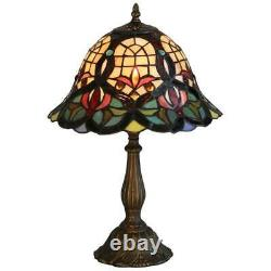 KLiving 12 Barking E27-60w Antique Brass Tiffany Table Lamp/Stained Glass Shade
