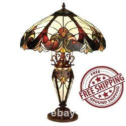 Kitchen Table Lamp Tiffany Style Victorian Handcraft Lighted Base Stained Glass