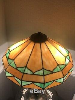 Lamb Brothers Arts & Crafts Style Antique Leaded Stained Glass Lamp