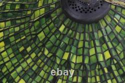 Large 2-foot Gorgeous Tiffany-style Leaded Hanging Lamp Green Slag
