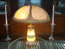 Large Antique Empire Slag Glass Lamp Shade & Lighted Lit Base VG Condition