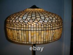 Large Vintage Striated Green Glass Curtain Drape Stained Glass Lamp Shade L@@k