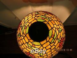 Large Wilkinson Waterlily Stained Glass Lamp Antique