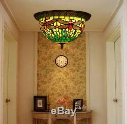 Makenier Vintage Tiffany Green Stained Glass Dragonfly Flush Mount Ceiling Lamp