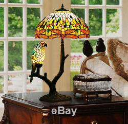 Makenier Vintage Tiffany Stained Glass Blue Dragonfly + Blue Parrot Table Lamp