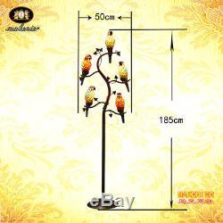 Makenier Vintage Tiffany Style Stained Glass 5-light Parrot Floor Lamp