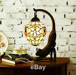 Makenier Vintage Tiffany Style Stained Glass Pink Flower Cat Table Lamp