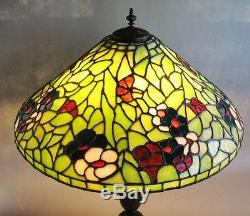 Massive 24 Bigelow & Kennard Stained Leaded Glass Lamp c. 1910 Signed antique