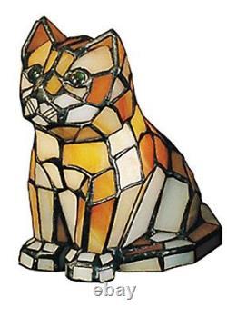 Meyda Lighting 7H Cat Tiffany Glass Accent Lamp Orange Novelty Kitten