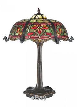 Meyda Tiffany Viking Red & Green Stained Glass Night Stand End Table Desk Lamp