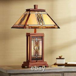 Mission Table Lamp with Nightlight Walnut Wood Tiffany Stained Glass for Bedroom
