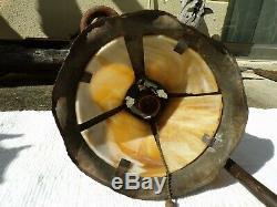 Mission art craft stained slag desk lamp bronze handel tiffany roycroft stickley