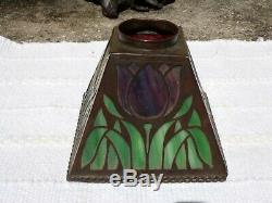Mission arts crafts slag stained leaded glass lamp shade handel tiffany whaley