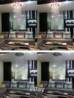 Modern Luxury Crystal Chandelier Rain Drop Spiral Ceiling Light LED Pendant Lamp