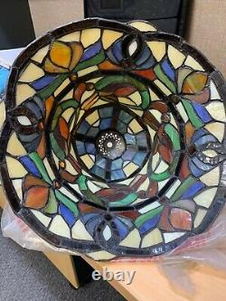 NEW! Handcrafted Stained Glass Tiffany Style Table Lamp 18H x 12W (1201)