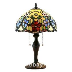 NEW! Handcrafted Stained Glass Tiffany Style Table Lamp 19H x 12W (1227)