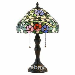 New! Handcrafted Stained Glass Tiffany Style Table Lamp 19 1/2Hx12W (1239)