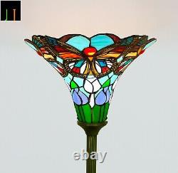 New JT Tiffany Stained Glass 14 Inch Shade Torchiere Butterfly Style Floor Lamp
