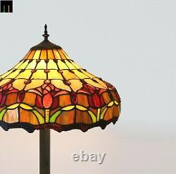 New JT Tiffany Stained Glass 16 Inch Shade Tulip Style Floor Lamp Home Art Deco
