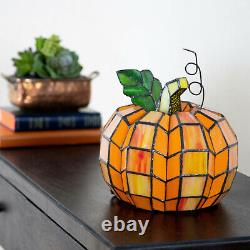 New Patch the Pumpkin Stained Glass Accent Lamp 9 High Tiffany-Style Durable