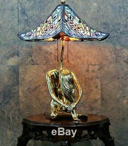 Old Tiffany Style Mosaic Shade Leaded Stained Glass Lamp Gold Brass Signed Base