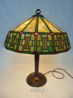 Original Antique Mission Arts & Crafts Stained Slag Glass Lamp By Handel