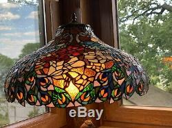 Peacock tiffany style table lamp double lit stained glass lamp