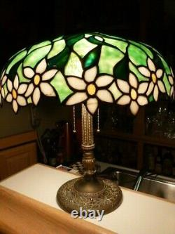 RARE ANTIQUE OLD LEADED SLAG STAINED GLASS HANDEL TIFFANY STYLE LAMP c. 1905
