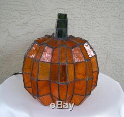 RARE! Cracker Barrel Stained Glass Pumpkin Tiffany Lamp Halloween Thanksgiving