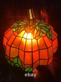 RARE! Large STAINED GLASS pumpkin light Tiffany Style Lamp Halloween