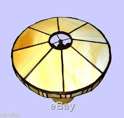 Rare American Arts & Crafts Pottery Lamp Base & Leaded Stained Glass Shade