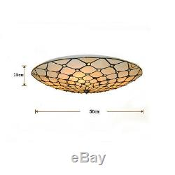 Retro Stained Glass Flush Mount Ceiling Lamp Light Fixture 50cm Tiffany Style