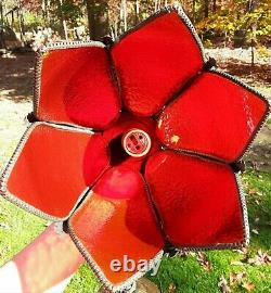Retro Stained Glass Hanging Swag Lamp Light Fixture Red Tulip Tiffany Style